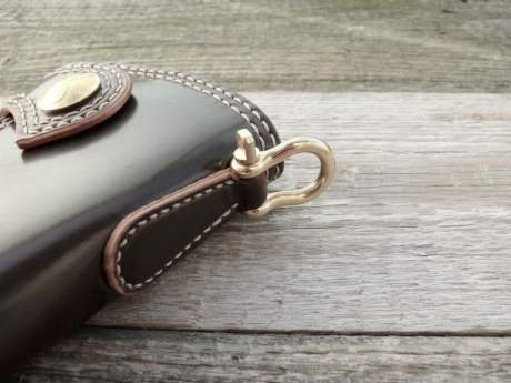 SOXISIX WALLET Horween Shell Cordovan® PM.47/BRASS:OXBLOOD